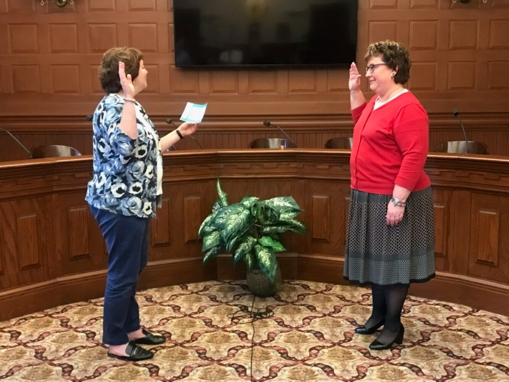 Interim City Administrator Heather Hunter was sworn in Wednesday morning along with the rest of Lewiston's interim management team, including Police Chief Brian O'Malley, who has stepped in as interim deputy city administrator.