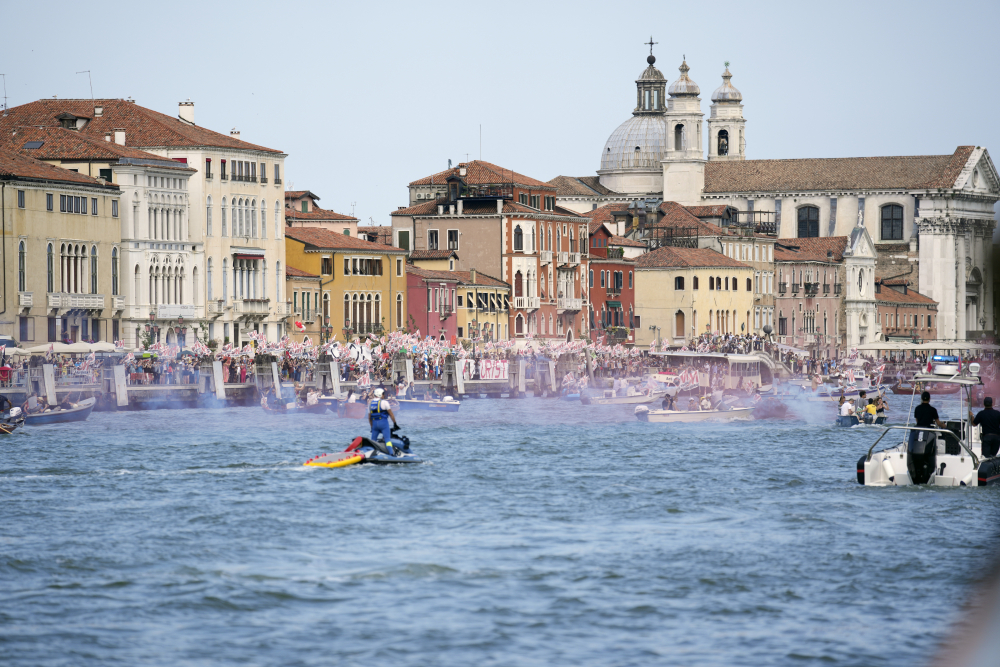 """""""No Big Ships"""" activists stage a protest as a cruise ship leaves Venice in June."""