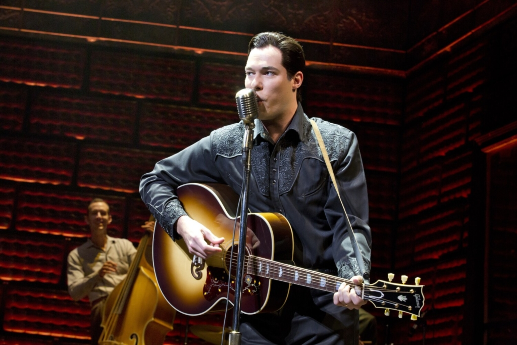 """Scott Moreau in a scene from a production of """"Million Dollar Quartet."""" Raised in central Maine, Moreau has portrayed Johnny Cash thousands of time and will do so again this month in """"Ring of Fire"""" at Portland Stage."""