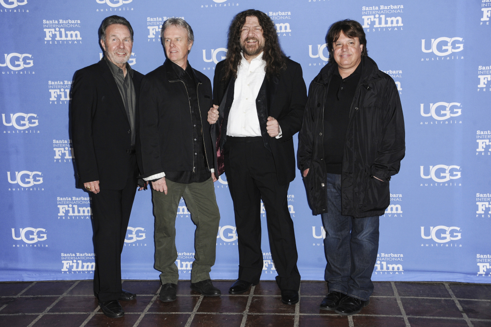 """Manager Budd Carr, from left, drummer Phil Ehart and vocalist and violinist Robert E. """"Robby"""" Steinhardt of Kansas, with director Charley Randazzo in  2015 in Santa Barbara, Calif."""