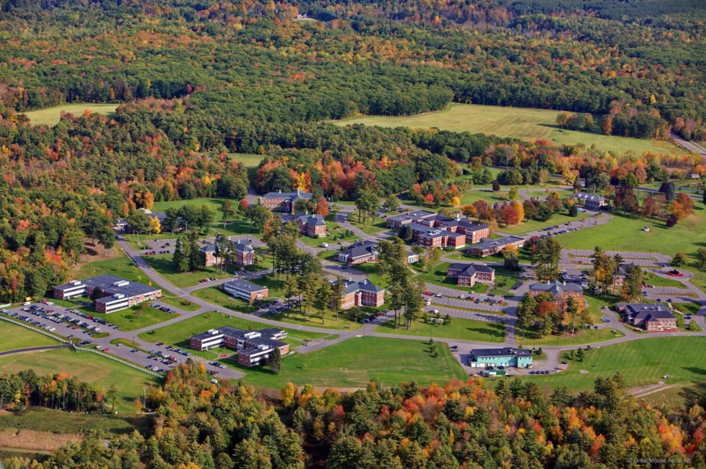 An aerial photo of Unity College's planned Technical Institute for Environmental Professions at Pineland Farms in New Gloucester. The main building for the college, to be called Freeport Hall, is in the lower left corner of the image.