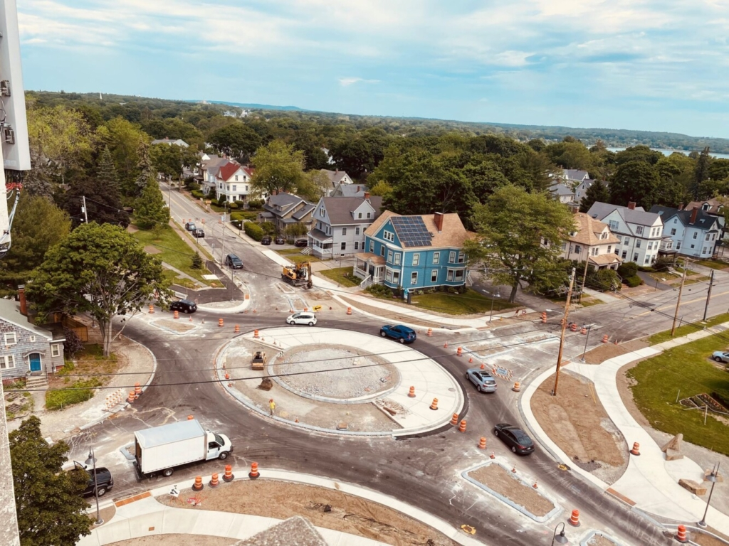 This bird's-eye photo of the roundabout, taken June 8, was posted on Portland's website.