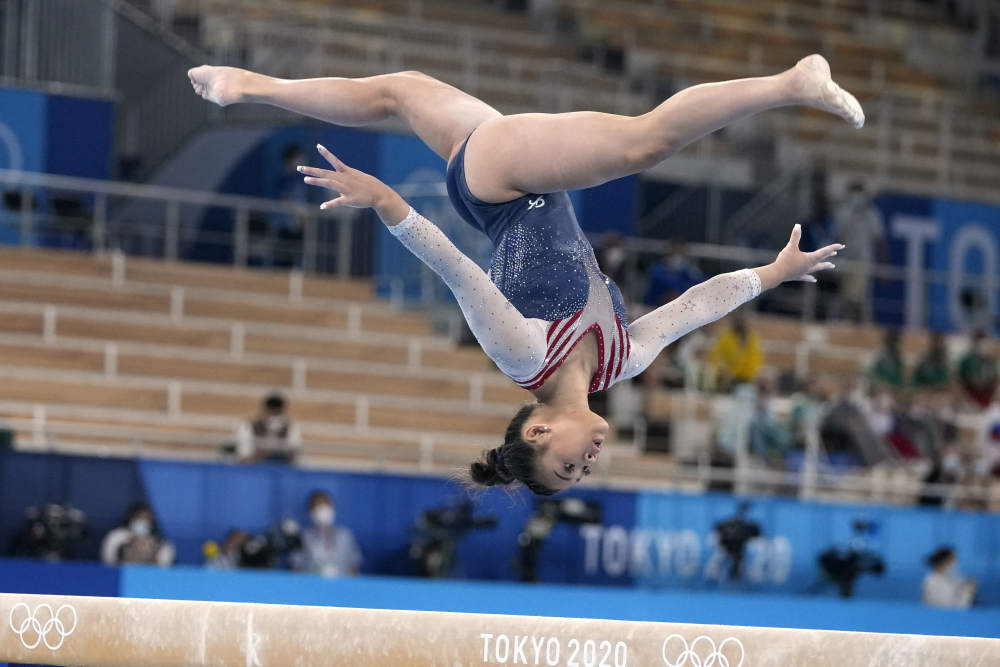 Sunisa Lee, of the United States, performs on the balance beam during the artistic gymnastics women's all-around final at the 2020 Summer Olympics on Thursday.
