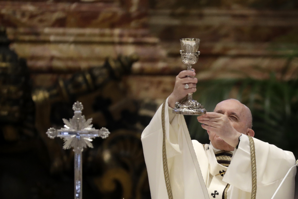 Pope Francis celebrates a Chrism Mass inside St. Peter's Basilica, at the Vatican on April 1, 2021.