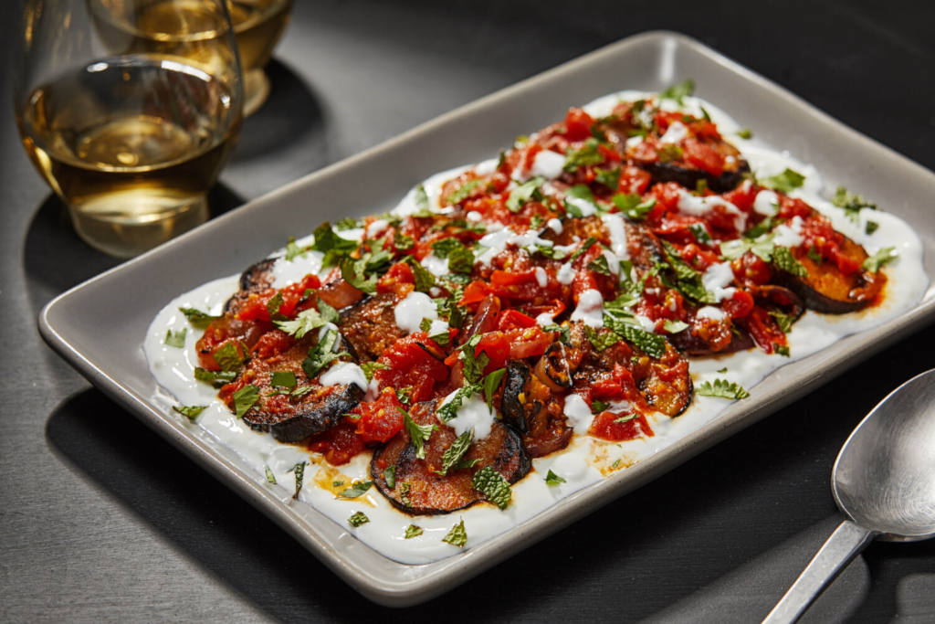 Afghan-Style Grilled Eggplant with Tomato Sauce, Yogurt and Herbs