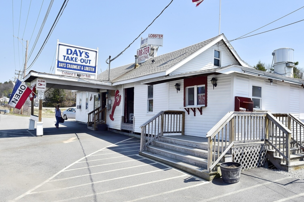 FREEPORT, ME - MAY 4: Exterior of Day's Crabmeat & Lobster retail and Take-Out business that is up for sale. (Photo by Gordon Chibroski/Staff Photographer)