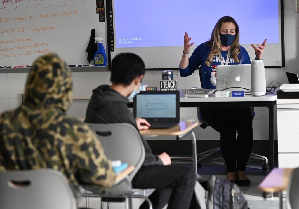 As part of a statewide effort to boost vaccinations in schools, state health officials have collected and posted data on student vaccination rates in Maine schools. Biddeford High English teacher Heather Tremblay teaches a class last winter.