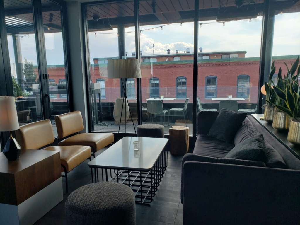 Inside tables are easier to come by than outdoor ones on the roof at Luna in Portland.