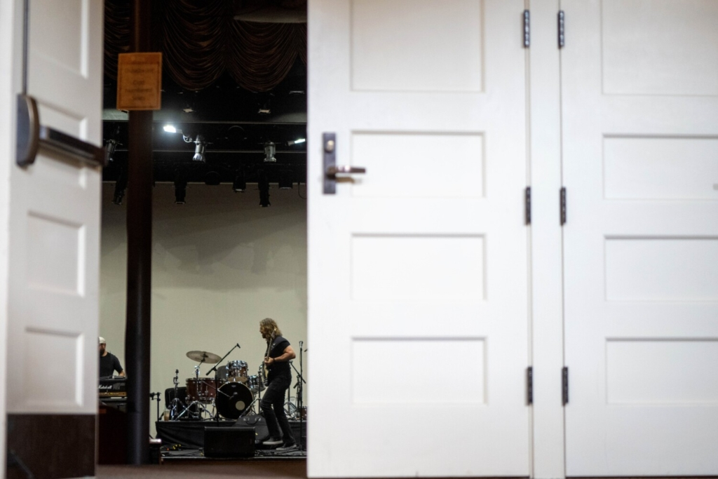 WATERVILLE, MAINE- AUGUST 27, 2021 Crews set up for the Femmes of Rock at the Waterville Opera House on Friday, August 27, 2021. The Femmes of Rock were the first show to cancel at the beginning of the pandemic in 2020.  (Staff Photo by Michael G. Seamans/Staff Photographer)