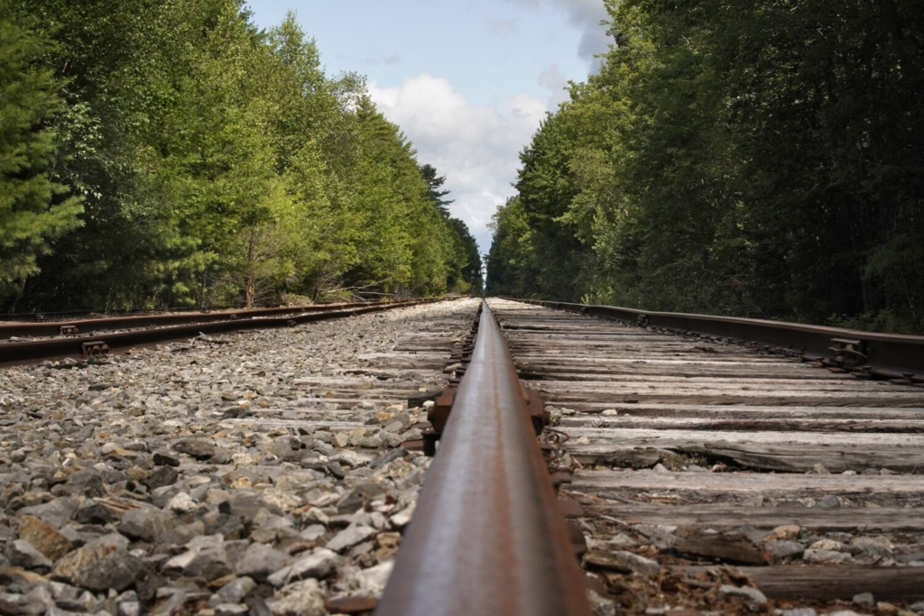 The tracks of the St. Lawrence and Atlantic Railroad near a trail crossing in the Riverfront Woods Preserve in Yarmouth could become a rail trail if an effort spearheaded by the Casco Bay Trail Alliance gains momentum.