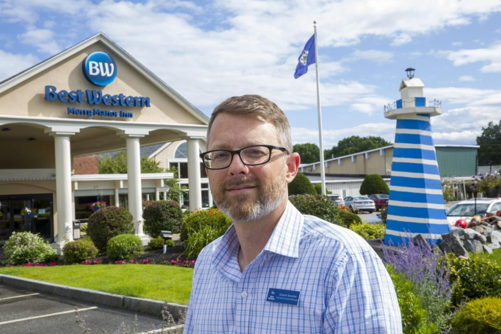 Stewart Bramble, assistant general manager of the Best Western Merry Manor Inn in South Portland, says the 153-room hotel is having its busiest summer ever. Despite staffing shortages, customers have been understanding.