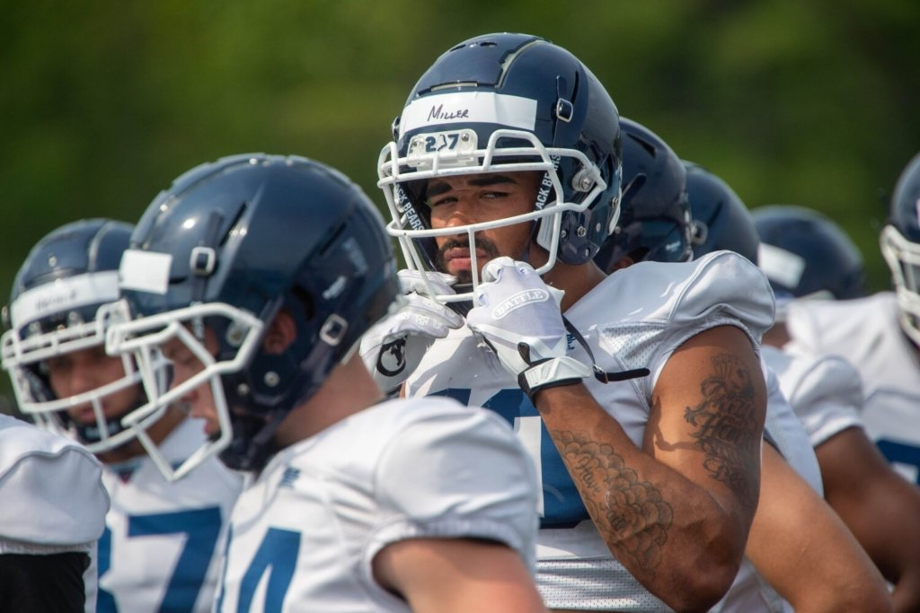 ORONO, MAINE- AUGUST 4, 2021 University of Maine receiver Andre Miller (10) prepares for practice at Morse Field at Harold Alfond Sports Stadium at the University of Maine in Orono on Wednesday, August 4, 2021. (Staff Photo by Michael G. Seamans/Staff Photographer)