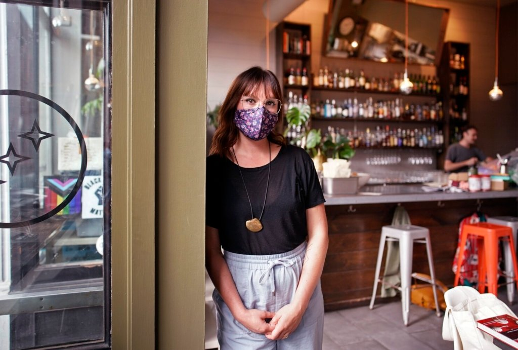 Briana Volk is a co-owner of the Portland Hunt & Alpine Club, which has decided not to serve unvaccinated customers indoors. It is one of three restaurants in Portland that adopted such a policy over the weekend.