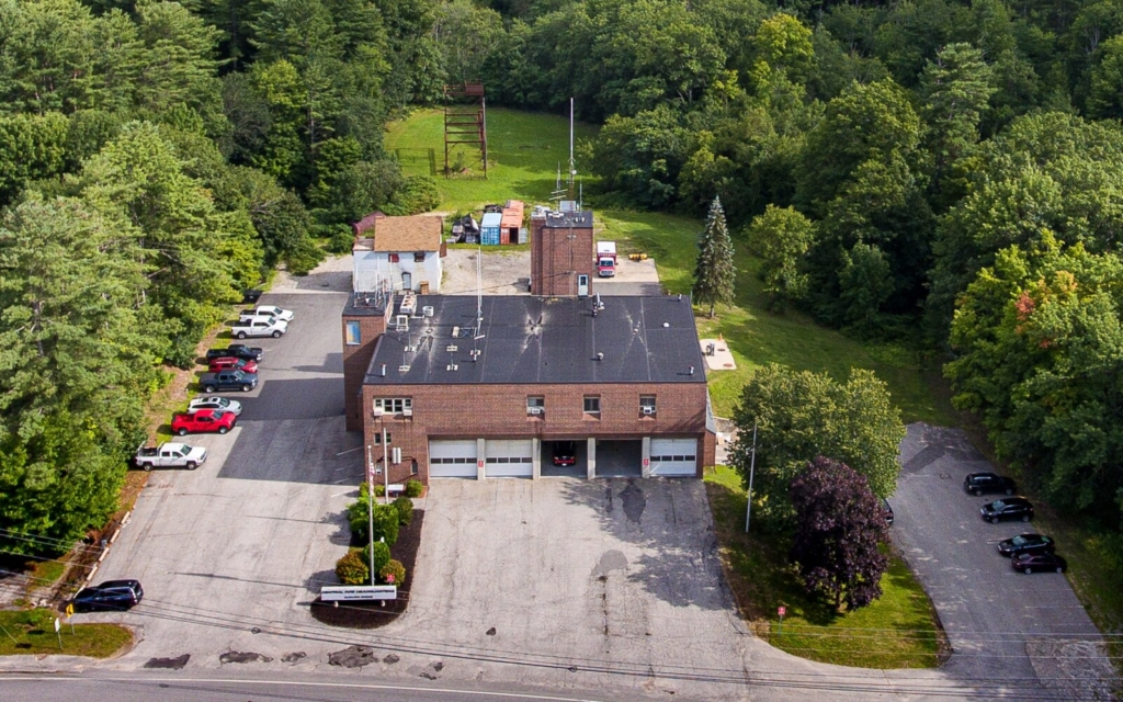 An aerial view of Auburn Central Fire Station on Minot Avenue.