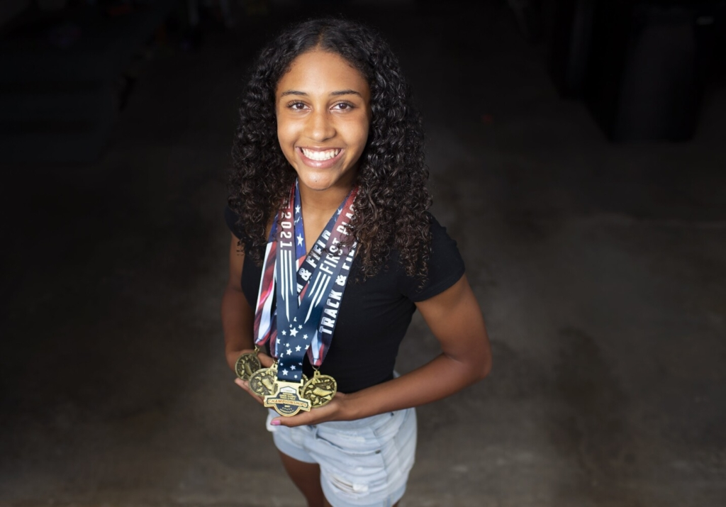 SCARBOROUGH, ME - AUGUST 19: Emerson Flaker,14, of Scarborough has set several age group state track records and won a national title this summer. (Staff photo by Derek Davis/Staff Photographer)