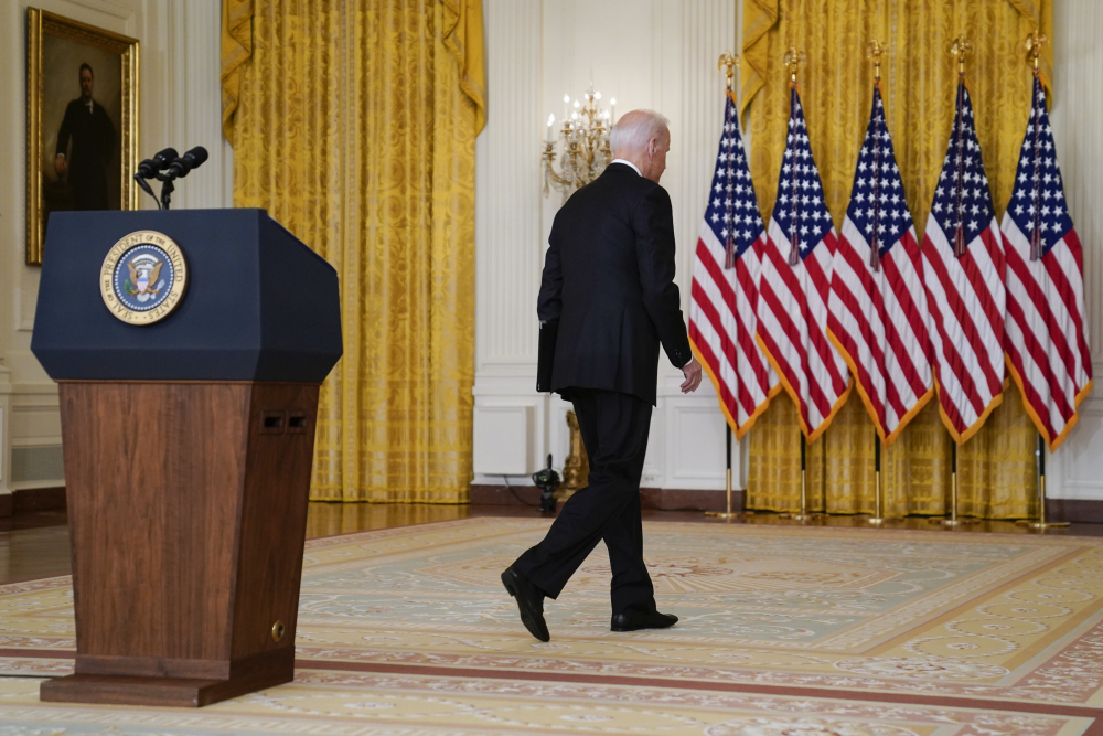 President Biden walks from the podium after speaking about Afghanistan from the East Room of the White House on Monday in Washington.