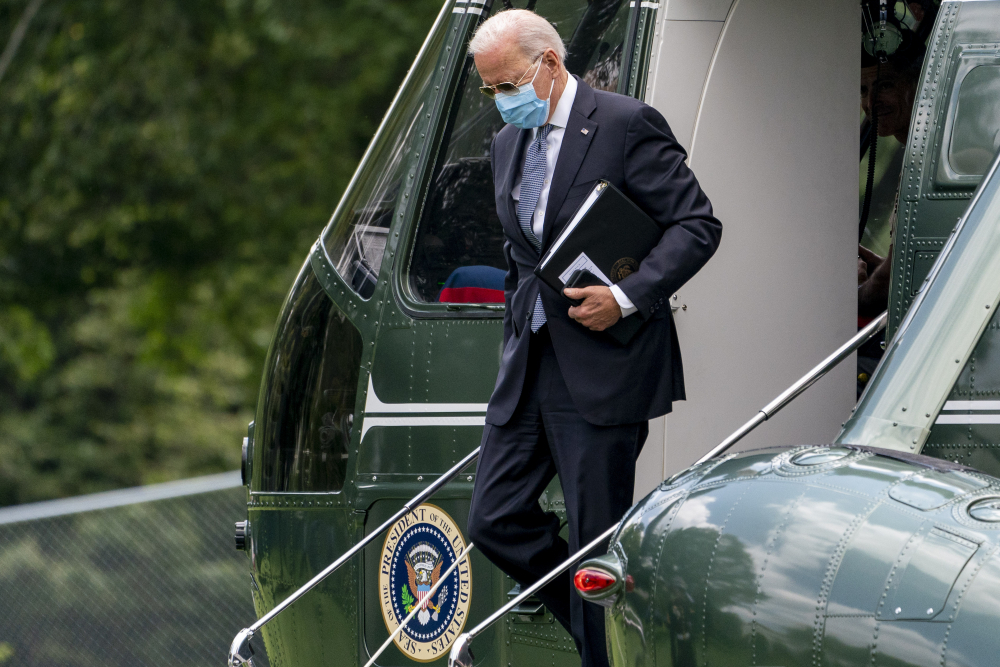 President Joe Biden arrives at the White House in Washington, Monday, Aug. 2, 2021, after spending the weekend at Camp David.