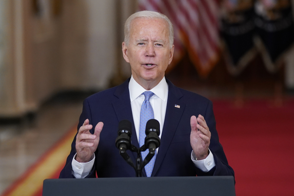 President Biden speaks about the end of the war in Afghanistan from the White House on Tuesday.