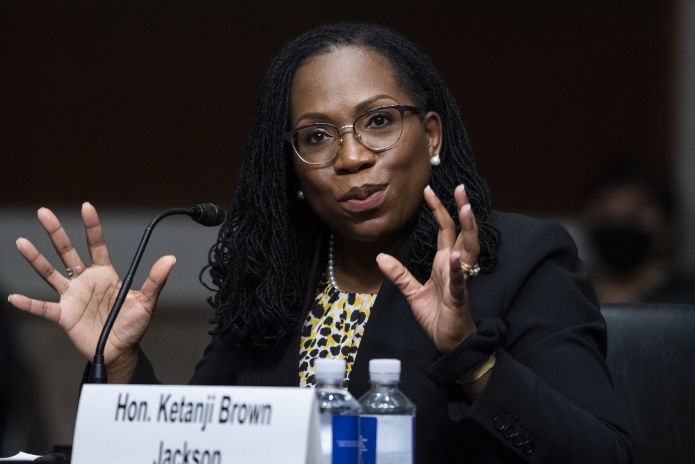 Ketanji Brown Jackson, nominated to be a U.S. Circuit Judge for the District of Columbia, testifies before a Senate Judiciary Committee hearing on April 28. She is a potential Supreme Court pick.