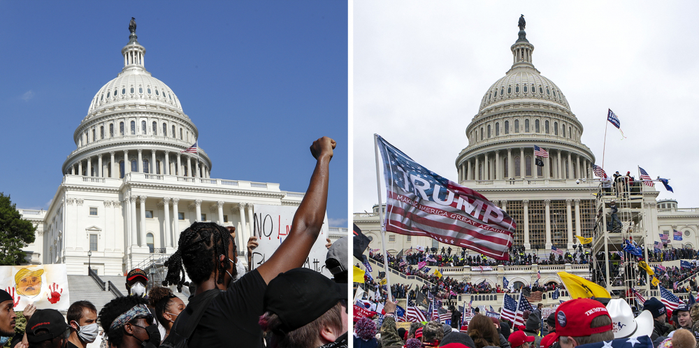In this combination of photos, demonstrators, left, protest on June 4, 2020, in front of the U.S. Capitol in Washington, over the death of George Floyd, and, right, on Jan. 6, 2021, supporters of President Trump rally at same location. Some charged in the Jan. 6 riot at the U.S. Capitol as well as their Republican allies claim the Justice Department is treating them harshly because of their political views. They also say those arrested during last year's protests over racial injustice were given leniency. Court records tell a different story.