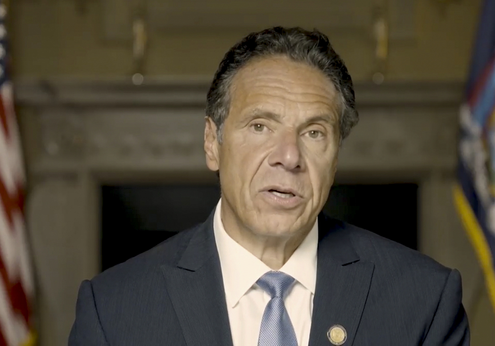 In this image taken from video, New York Gov. Andrew Cuomo makes a statement released Tuesday in New York. An investigation has found that he sexually harassed multiple current and former state government employees, state Attorney General Letitia James announced Tuesday.