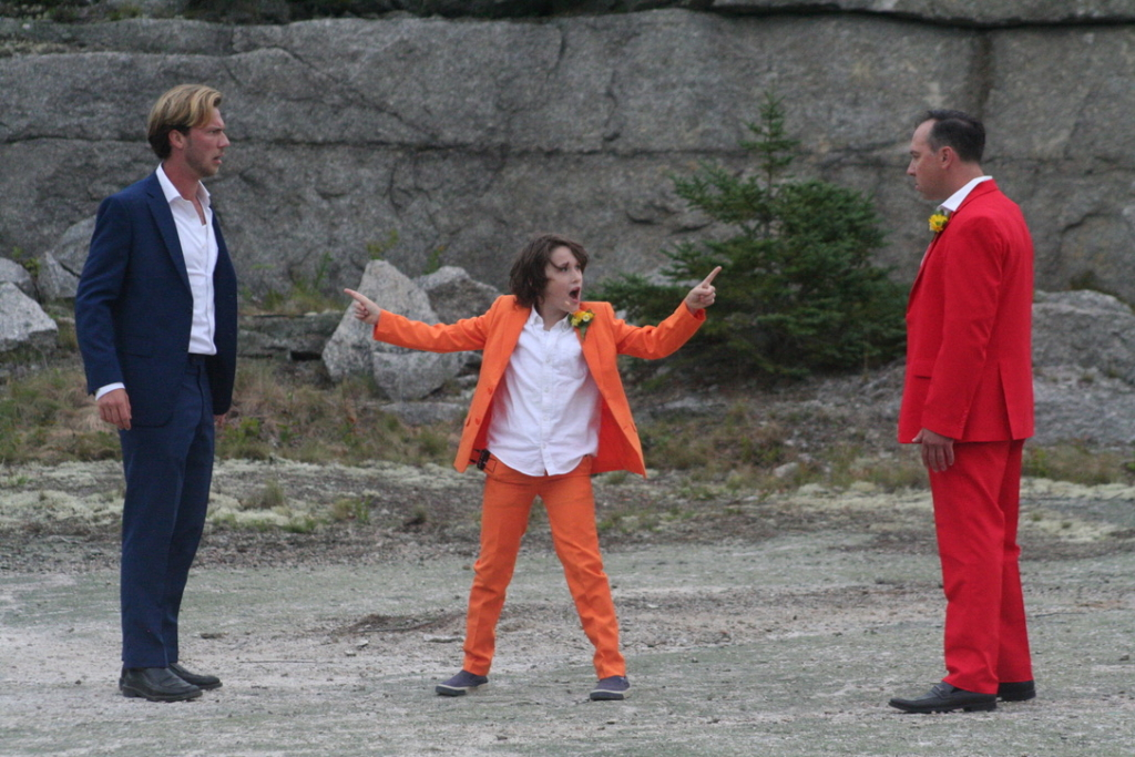 """Marvin Merritt IV (from left), Quincy Lincoln and John Skocik act in """"Do Not Moves Stones,"""" presented in August at the Settlement Quarry in Stonington. Merritt, who grew up on Deer Isle, hoped to begin his acting career in New York, Los Angeles or Berlin, but the pandemic brought him and his art back to Maine."""