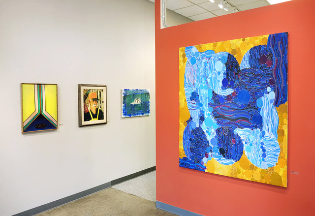 """""""Blue Peninsula"""" by Lynne Drexler, right, among other paintings in """"Maine Masters of Modernism"""" at Elizabeth Moss Galleries in Falmouth."""