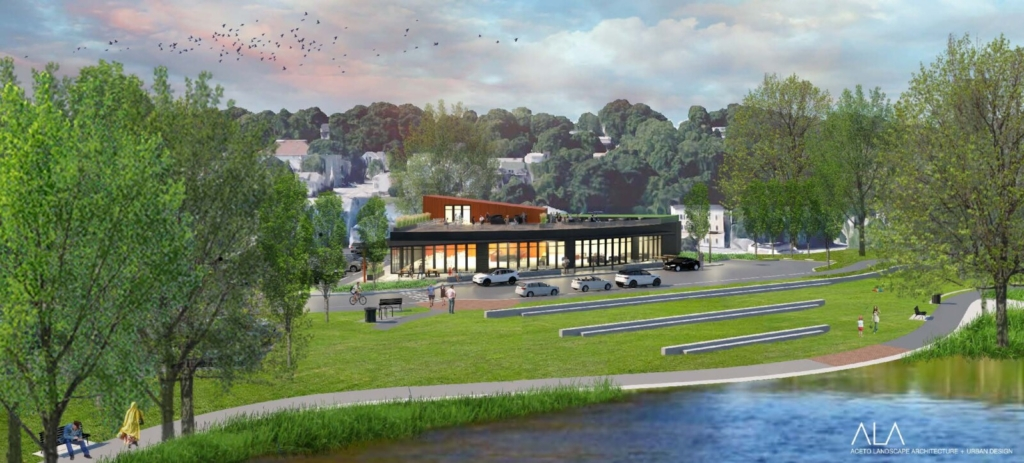 """A rendering depicts the """"eatertainment center"""" proposed by developers Treadstone LLC for Auburn's Anniversary Park. The building would feature a glass facade, two eateries and rooftop dining."""