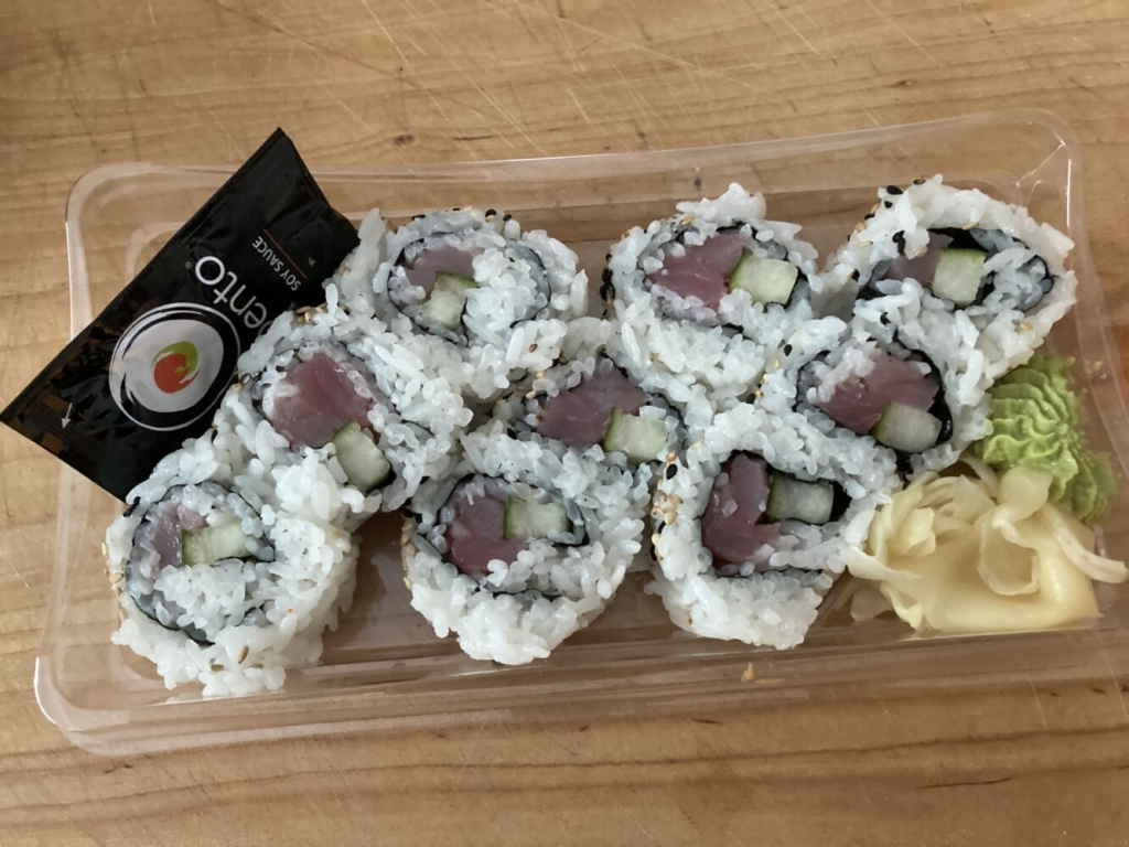 A tuna roll, made to order at the Bento Sushi counter in the Mill Creek Hannaford in South Portland.