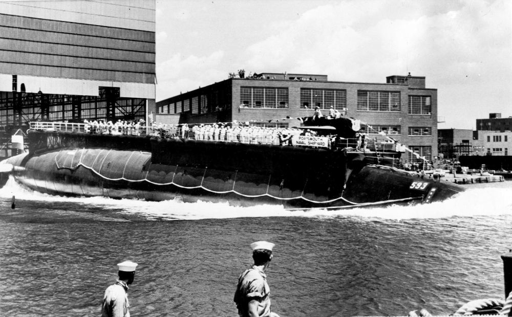 The 278-foot-long nuclear powered attack submarine USS Thresher, a first in its class boat, is launched bow-first at the Portsmouth Navy Yard in Kittery on July 9, 1960. The USS Thresher sank on April 10, 1963, killing all 129 crew on board, during an Atlantic Ocean test dive about 220 miles off the Massachusetts' coast.