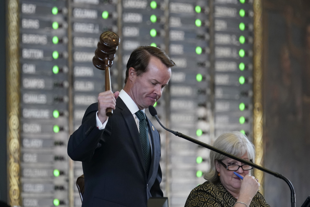 Speaker of the House Dade Phelan, R-Orange, presides as they House prepares to debate a bill to restrict voting, on Thursday in Austin, Texas.