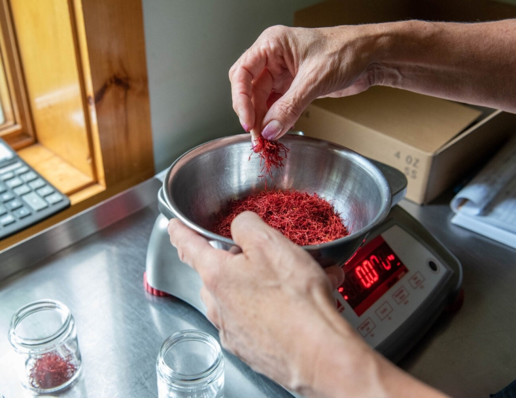 Christine Pistole, owner of Gryffon Ridge Spice Merchants, weighs out persian saffron on Wednesday and packages it in her home-based business in Litchfield.