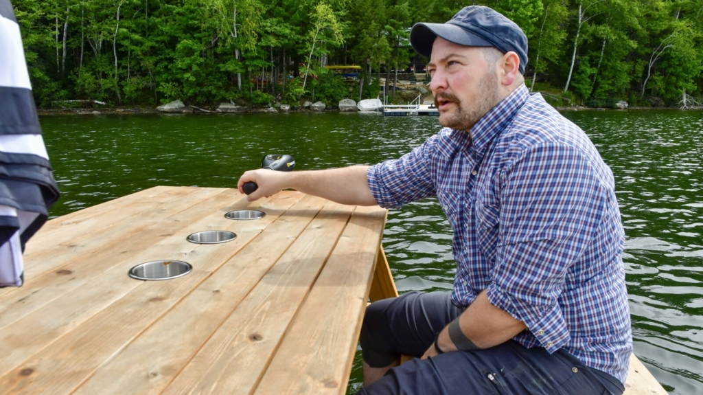 Winthrop man's motorized floating picnic tables ready for launch
