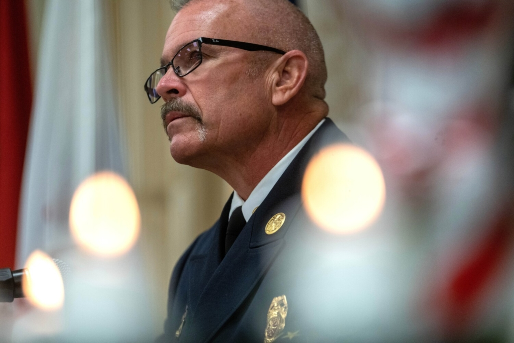 Ronnie Rodriguez, Winslow fire chief, recounts his experience responding to the Pentagon on Sept. 11, 2001, during a 9/11 remembrance service Saturday at the Elks Lodge in Waterville.