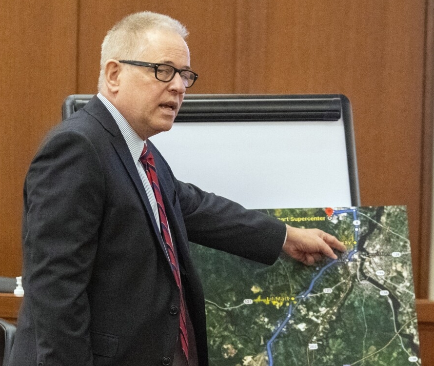 AUGUSTA, ME - SEPTEMBER 15: Defense attorney James Hawaniec points at a map while making opening statement in murder trial of his client Gage Dalphonse Wednesday September 15, 2021 in the Capital Judicial Center in Augusta. (Staff photo by Joe Phelan/Staff Photographer)
