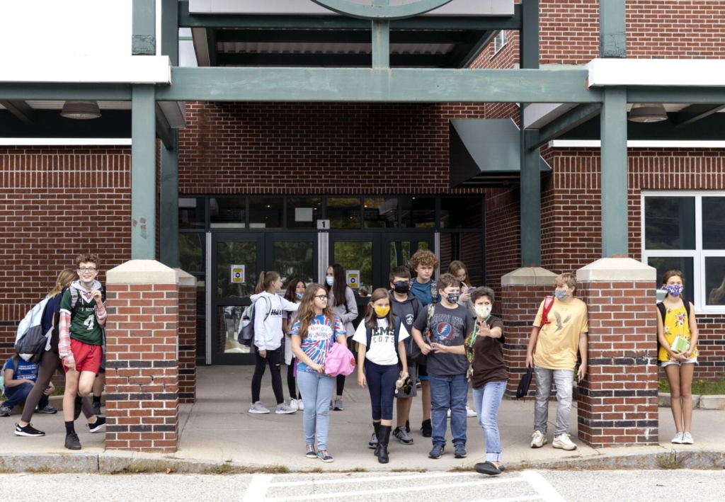 STANDISH, ME - SEPTEMBER 17: Students leave Bonny Eagle Middle School at the end of the day on Friday, September 17, 2021. (Staff photo by Brianna Soukup/Staff Photographer)