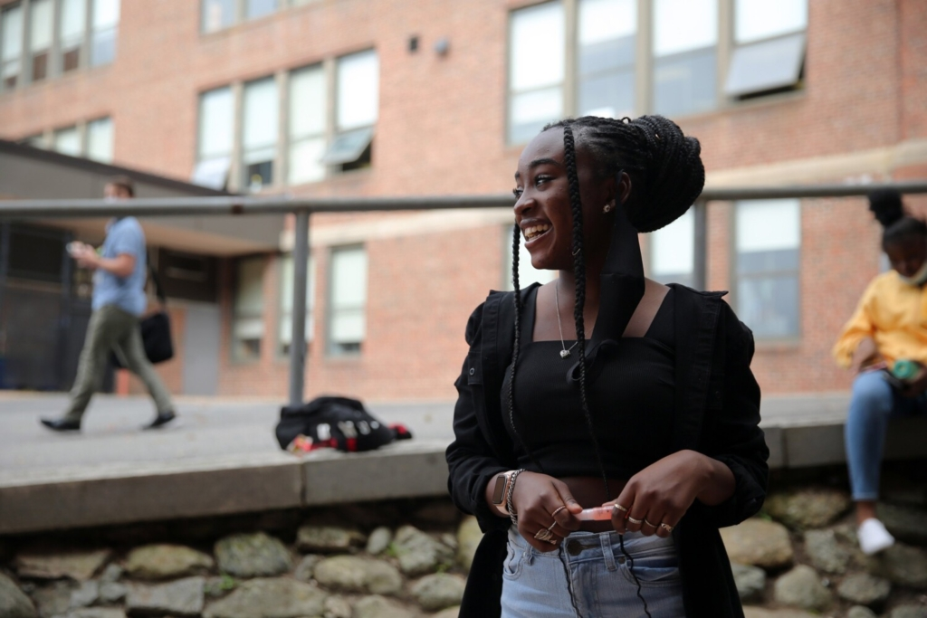 PORTLAND, ME - SEPTEMBER 22: Freshman Estrela Joao talks to a reporter about her decision to attend Deering High School. Enrollment numbers between Portland High School and Deering shifted in 2019 to Portland regularly enrolling larger classes than Deering. The result is about a 200 student gap currently in the enrollments between the two. There are also disparities in the percentages of low-income and students of color, and the trends are causing staffing and programming problems. (Staff photo by Ben McCanna/Staff Photographer)