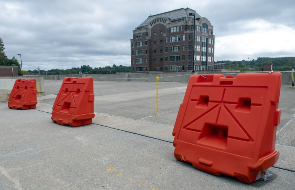 AUGUSTA, ME - SEPTEMBER 23: This Thursday September 23, 2021 photo shows closed upper deck of Dickman parking structure in Augusta. (Staff photo by Joe Phelan/Staff Photographer)