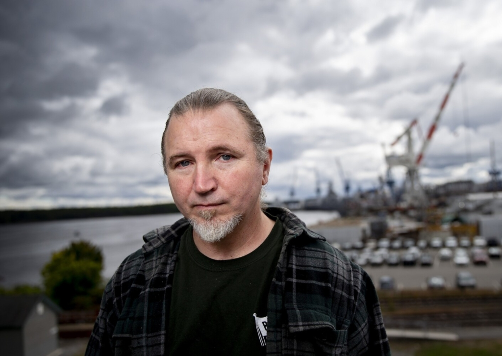 BATH, ME - SEPTEMBER 30: Tim Keefe of Rockland often missed meals when he was out of work after an accident but didn't qualify for assistance. After he turned 50, he qualified for SNAP and was able to use food stamps until he started working as a shipbuilder. Now he advocates for increases in SNAP.. (Photo by Derek Davis/Staff Photographer)