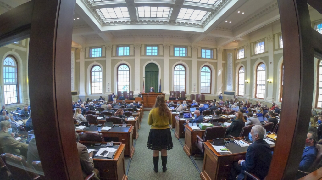Assistant Majority Leader Sen. Mattie Daughtry, D-Brunswick, delivers a message to the House of Representatives that the Senate has also convened and is ready to start the special legislative session Wednesday at the Maine State House in Augusta.