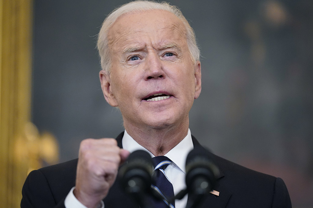 President Biden speaks at the White House on Thursday, announcing sweeping new federal vaccine requirements affecting as many as 100 million Americans in an all-out effort to increase COVID-19 vaccinations and curb the surging delta variant.