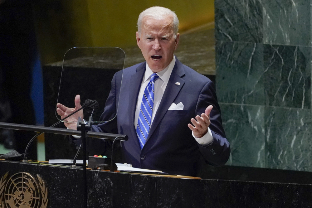 President Biden delivers remarks to the 76th Session of the United Nations General Assembly on Tuesday in New York.