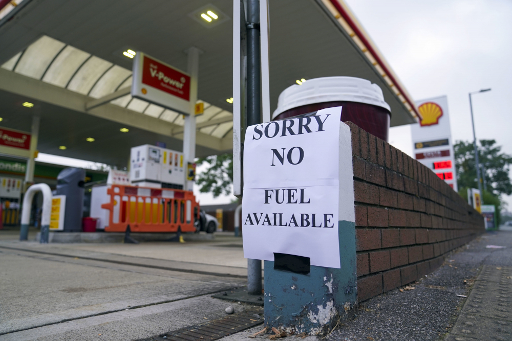 A view of a sign at a petrol station, in Bracknell England, Sunday.