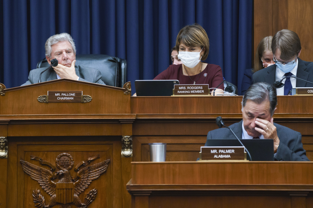 """House Energy and Commerce Chairman Frank Pallone, D-N.J., left, with Rep. Cathy McMorris Rodgers, R-Wash., the ranking member, work on the """"Build Back Better"""" package, a cornerstone of President Biden's domestic agenda, at the Capitol in Washington on Wednesday."""