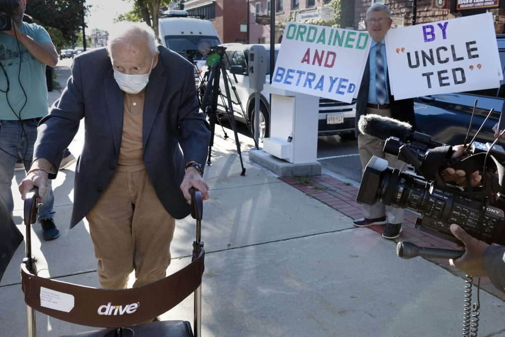Former Cardinal Theodore McCarrick, arrives at Dedham District Court on  Friday in Dedham, Mass.nearly 50 years ago.