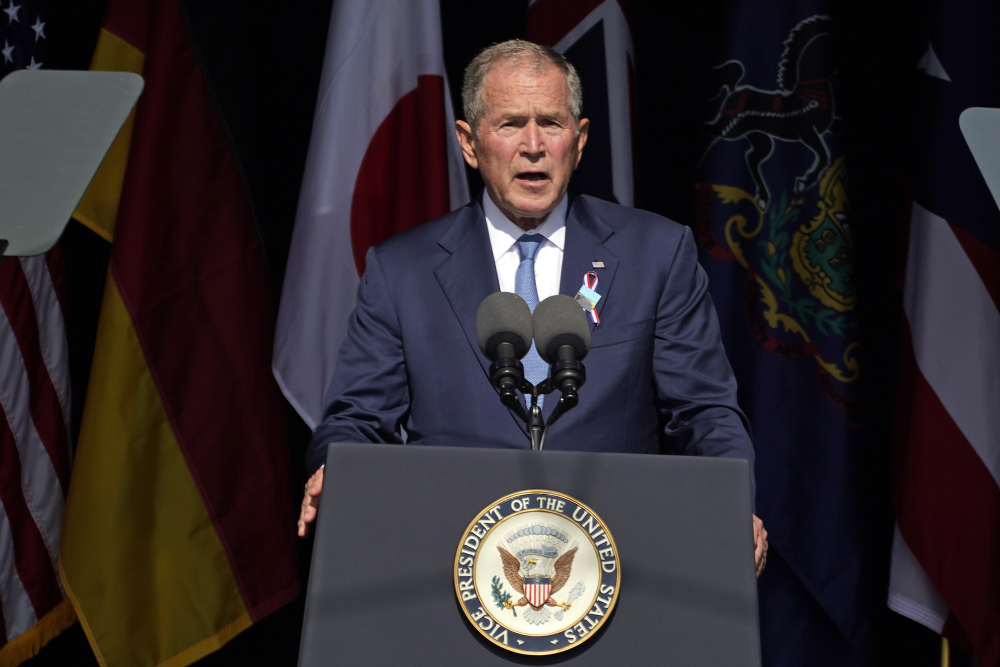 Former President George W. Bush speaks at the Flight 93 National Memorial in Shanksville, Pa., on the 20th anniversary of the Sept. 11, 2001 attacks.