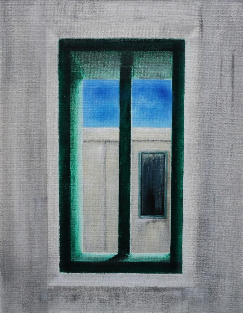 """""""View from the Window,"""" an unidentified piece of artwork from the """"Freedom & Captivity: Maine Voices Beyond Prison Walls"""" exhibition in Portland."""