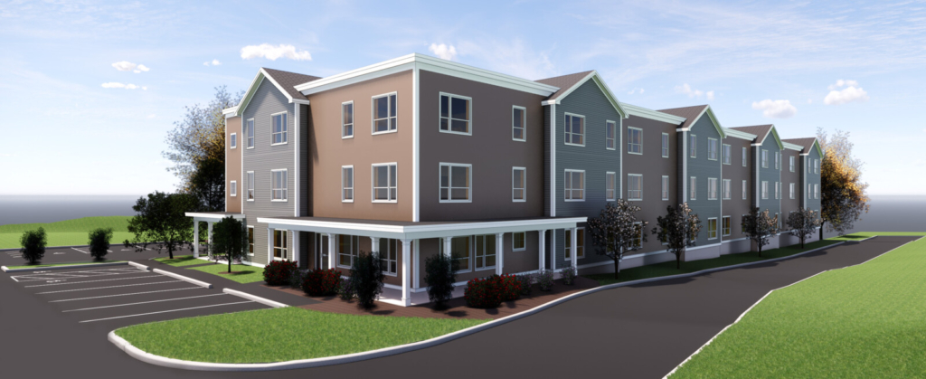 This architect's rendering shows Landry Woods, a 44-unit affordable housing complex for tenants age 55 and older that the South Portland Housing Authority wants to build as an expansion of Landry Village.
