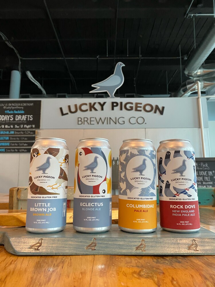 Lucky Pigeon makes gluten-free beer in a variety of styles, seen here in cans in the Biddeford tasting room.