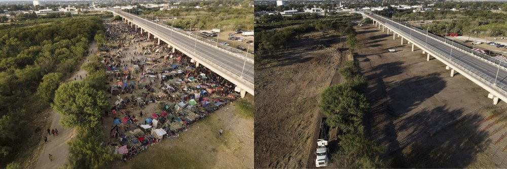 This photo combination shows an area in Del Rio, Texas, where migrants, many from Haiti, were encamped along the Del Rio International Bridge on Tuesday and a photo showing the area on Saturday after it was cleared off by authorities.